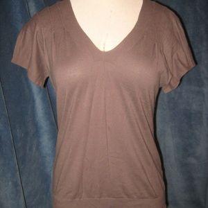 GAP Brown Short Sleeve V Neck Lightweight Sweater